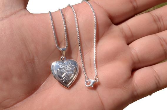 Corrente Colar Feminino Prata 925 + Pingente Coração Oferta