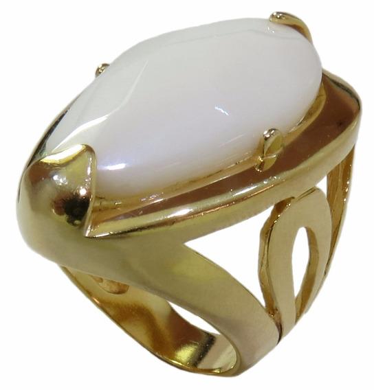 Anel Folheado A Ouro 18k Com Pedra Branca