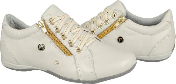 Tenis Feminino Branco Dourado Em Couro Com Ziper Cadarço