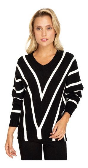 Sweater Lineas V Negro Eclipse