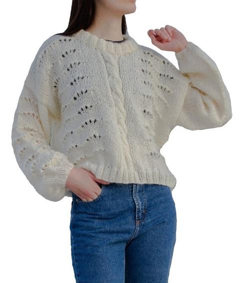 Sweater Coco Manteca Mujer Tejido A Mano