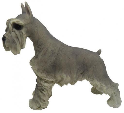 Escultura Schnauzer Cachorro De Resina Decoração Miniatura