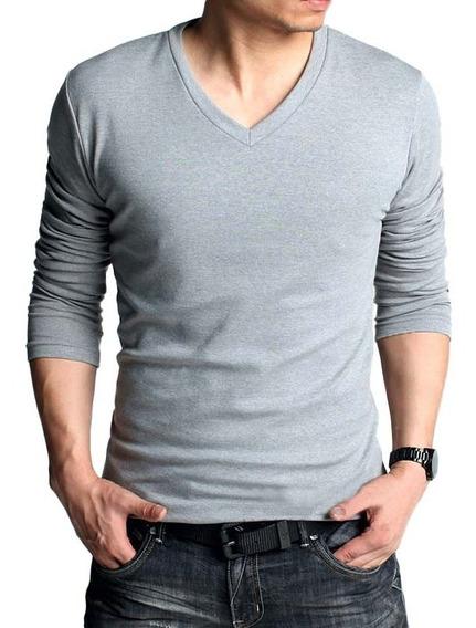 Blusa Masculina Manga Longa Gola V Slim Fit Camisa Masculina