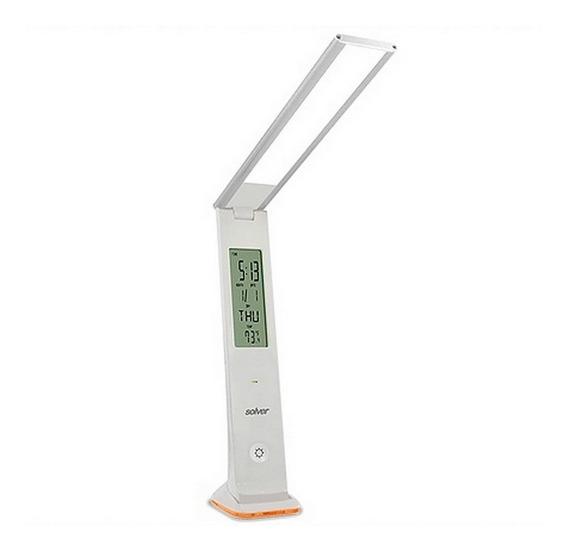 Luminária De Mesa Solver Slm-101 Led Relógio Touch Prata