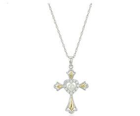 b9e711bbfc93 Collar De Plata Esterlina Y Oro De 14k Cruz Chapada En Oro