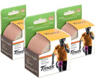 Bandagem Kinesio Elástica Funcional Adesiva Tmax Bege 3un