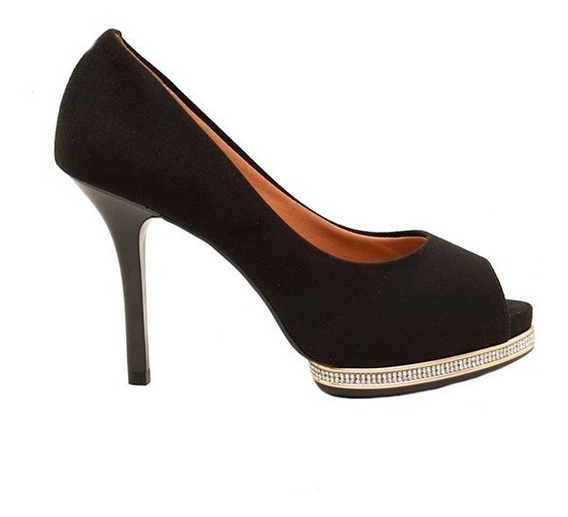 Zapatos Stilletos Mujer Microfibra Negro Con Piedritas Taco 11cm Vizzano