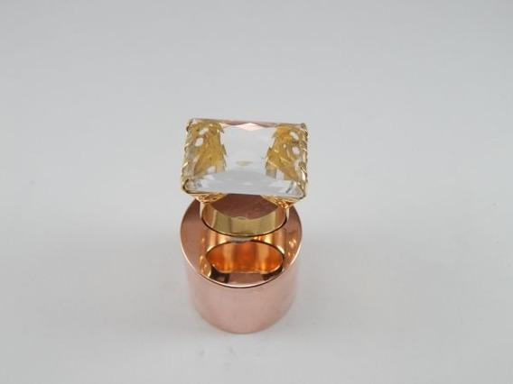 Anel Banhado Ouro Aro 20 Pedra Cristal Prince Natural An003