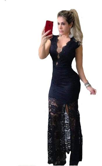 Vestido Longo Elegante Sereia Fenda Noite Festa Formatura