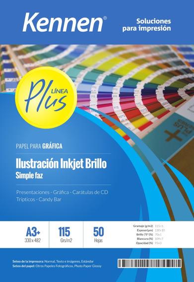 Papel Ilustración Inkjet Brillo Kennen 115gr A3+ 100 Hojas
