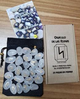 Oráculo De Runas En Cuarzo Blanco Incluye Manual