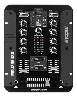 Mixer Moon Mdj206 Usb Dj 2 Canales Mp3 Consola Sonido Audio