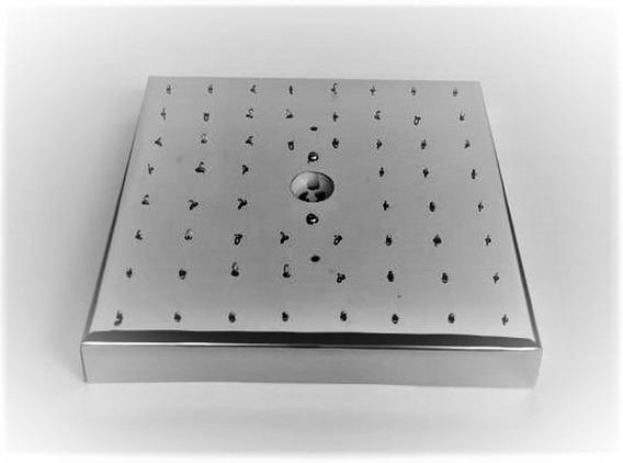 Base De Aço Inox 20cm Quadrada Montagem De Lustres 60 Furos