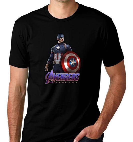 Camiseta Preta Vingadores Ultimato Endgame Capitao America 7
