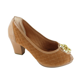 1663540ambar - Peep Toe Confort Sapatoweb Matelassê Caramelo