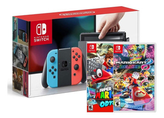Nintendo Switch Rojo Azul Neon + Mario Odyssey O Kart 8