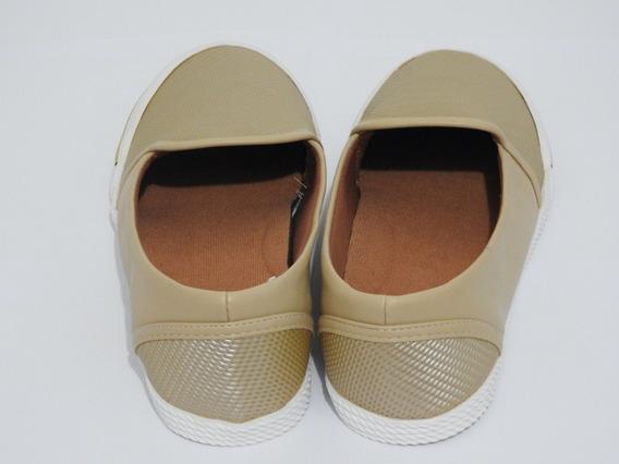 Sapato Feminino Slip On Bege Astral Em Couro