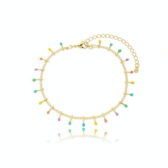 Pulseira Bracelete Feminina Delicada Colorida Tons Pasteis