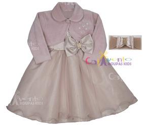 Vestido Infantil De Festa Luxo 1 Ao 3 Com Bolero E Faixinha