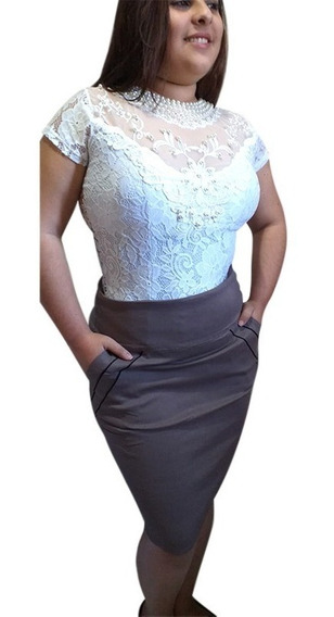 Saia Elegancy Moda Feminina Social Evangélica Modela Corpo