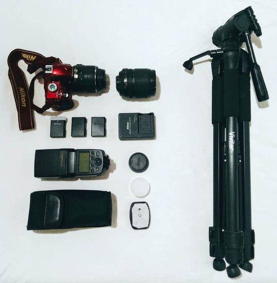 Kit Nikon D-3200 Red Dslr + Acessórios (1º Leia Descrição)
