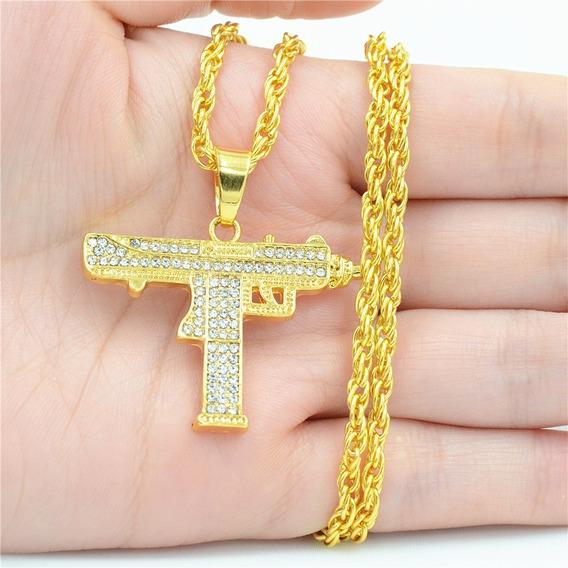 Colar Corrente Metralhadora Uzi Ouro Com Brilhantes Dourado Pronta Entrega Grande