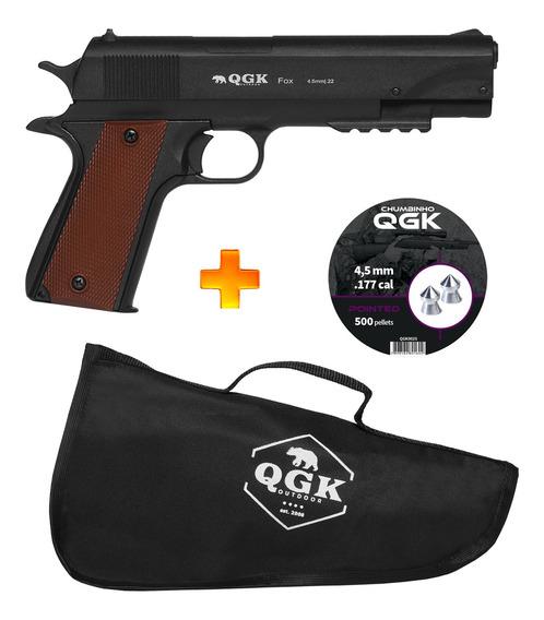 Pistola De Pressão 4.5 Fox - Qgk + Chumbinhos + Case