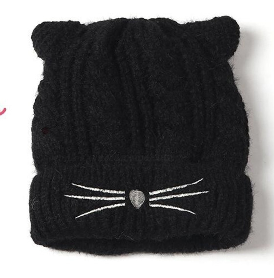 Gorro De Gatito Tejido Kawaii Mujer Niñas Gato-negro