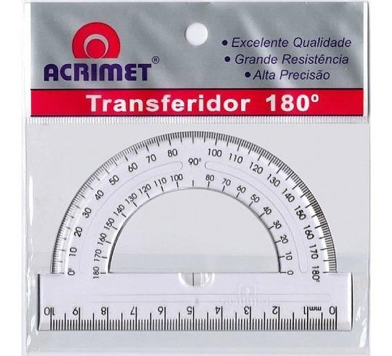 Transferidor 180 Graus 10cm Acrimet | 24 Unidades