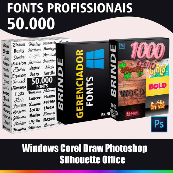 Pacote De 50 Mil Fonts Windows Corel Draw Photoshop + Brinde