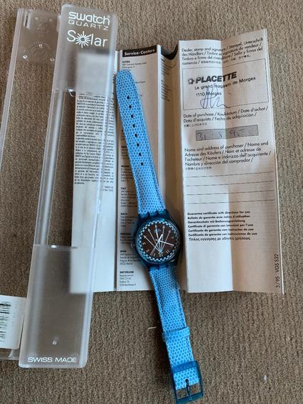 Relogio Swatch Srn100, Solar,ano 1995,sem Uso.caixa E Manual