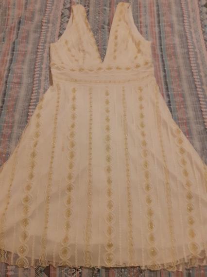 Vestido Corto De Fiesta , Elegante, En Color Crema Y Dorado