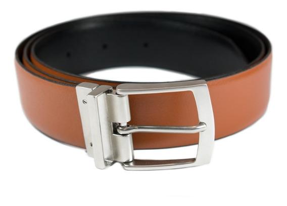Cinturón Dos Vistas Hebilla Reversible Doble Cuero Natural 4