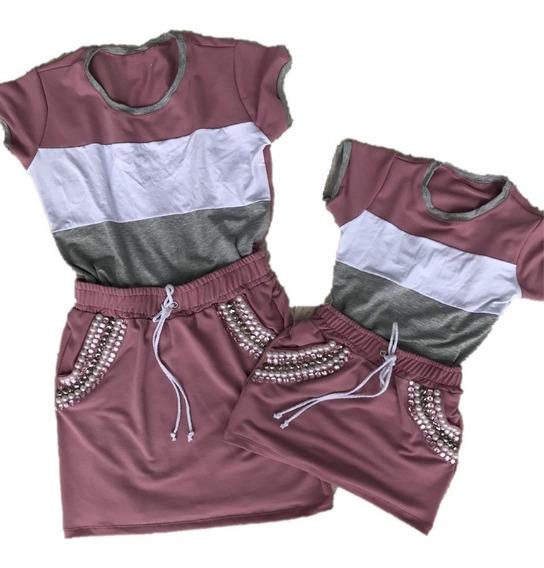 Saia Rosa Bordada + T Shirt Rosa E Branco Tal Mãe Tal Filha