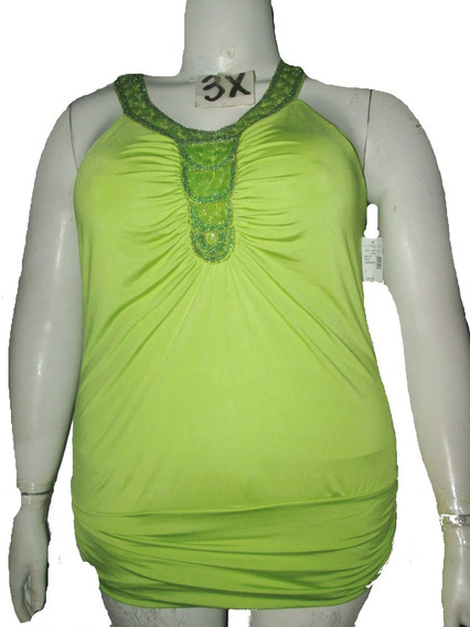 Blusa Verde Con Pedreria Talla 3x (42/44) American
