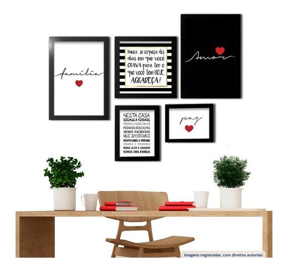 Kit Quadros Decorativos Amor Família Frases Sala Promoção