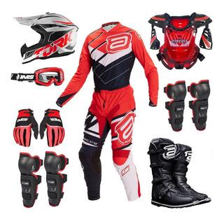 Kit Equipamento Asw Ims 19 Vermelho 9 Itens Trilha Motocross