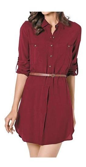 Vestido Blusa Mezclilla Con Cinturon Botones Mujer Juvenil