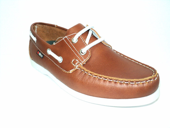 Zapato Náutico Caballero Cuero Color Marrón Y Suela Febo