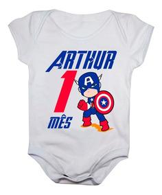 Kit Mesversario Menino Body Personalizado 12 Bodies Bebê Mês
