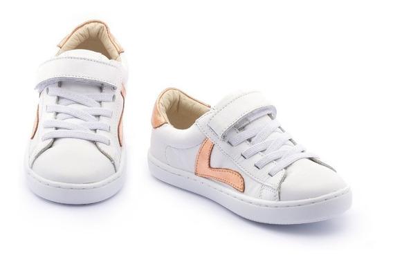 Tenis Infantil Menina Tip Toey Joe Branco C/ Dourado - 36873