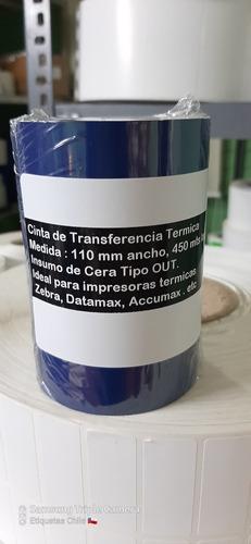 Cinta Cera Transferencia Termica 110 X 450 Metros De Largo