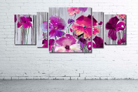 Oferta!! Cuadro Poliptico 215x80 - 182x80cm Decorativo Moderno Flores Variadas Diseño Personalizado