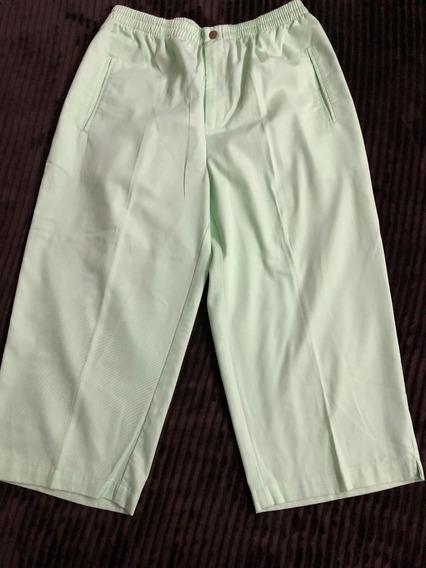 Pantalón Dama Capri Marca Lieb Talla 38 Verde Claro