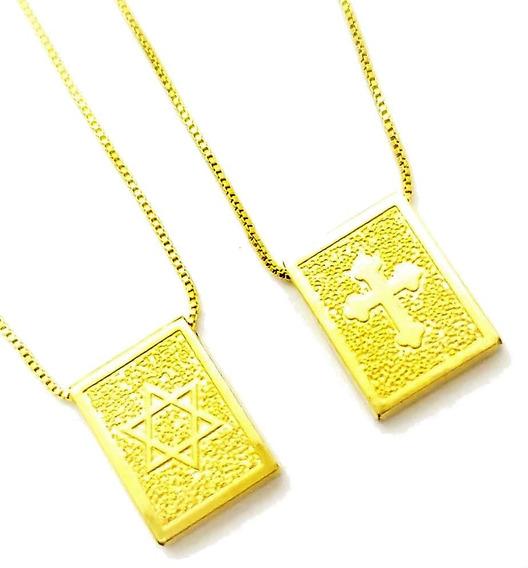 Cordão Escapulário Cruz E Estrela De David Banho Ouro 4656