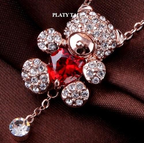 Collar Corazon Oso Swarovski Crystals Con Estuche Importado