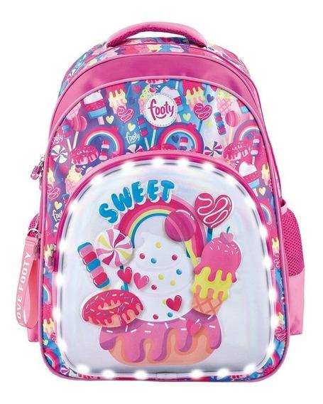Mochila Footy Espalda Sweet Violeta 3d Con Luz Led!