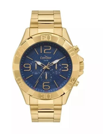 Relógio Masculino Dourado Fundo Azul Grande Prova D