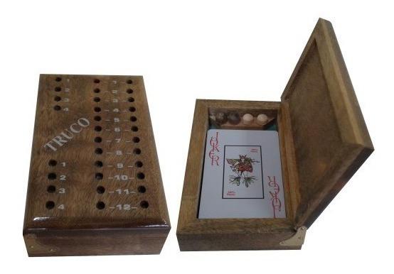 Marcador Truco Madeira 12,5x7,5m + 1 Baralho Carteado Cartas
