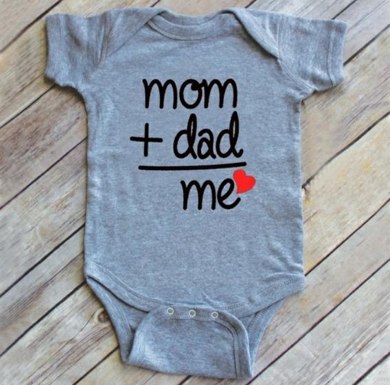 Body Infantil Bebê Newborn Mesversário Mom+dad=me 0-3m